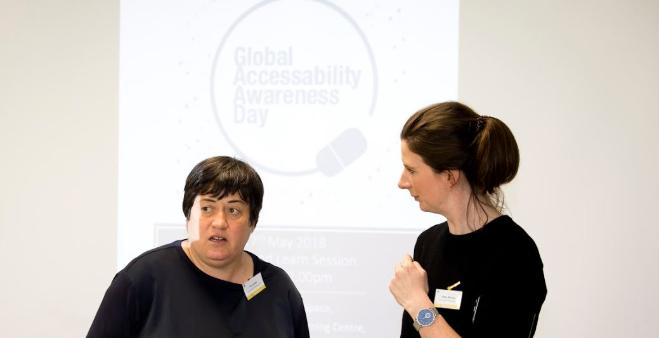 Tina Lowe and Enya Murray at our 2018 GAAD event