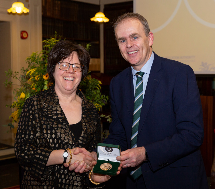 Professor Kathleen James-Chakraborty presented the Gold Medal by Joe McHugh