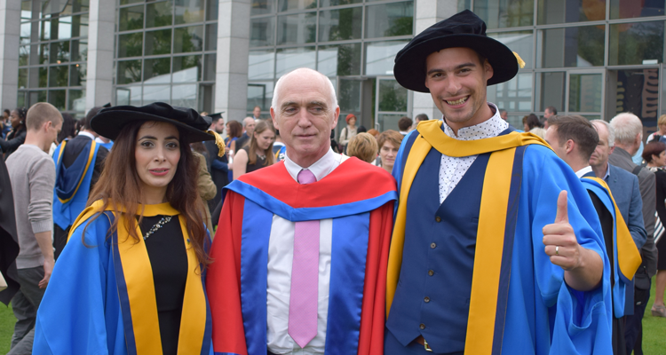 Dr Atteyeh Natanzi with Prof Eugene O'Brien and fellow graduate Dr Karol Martinovic