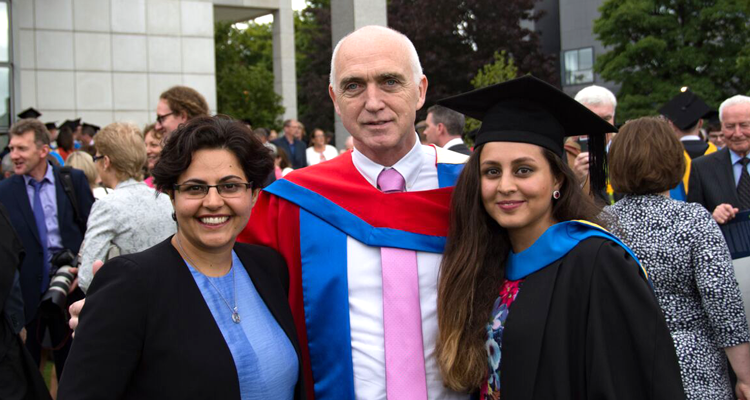 Dr Yeganeh Attari with Professor O'Brien and her sister and UCD alumni Dr Azadeh Attari