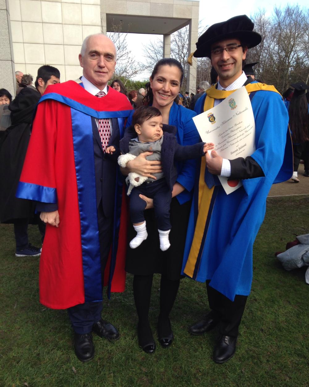 Dr Soroosh Jalilvand received his PhD in December. He is pictured here with Professor Eugene OBrien and his wife Dr Sogol Fallah (graduate of 2016) and son, Kian