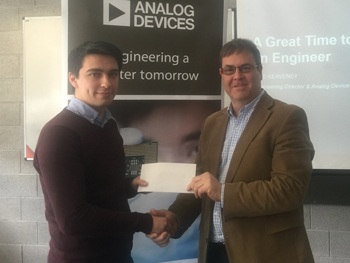 Analog Devices Ireland Award Presentations Winner Cormac O'Meadhra