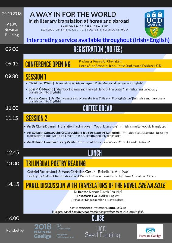 Programme for Translation Conference in UCD 20.10.2018