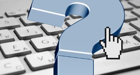 An image of a keyboard with 3D blue question mark and a white computer mouse pointer icon