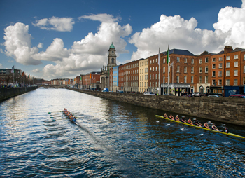 University College Dublin (left) and Trinity College Dublin Senior Women's in competition for the Corcoran Cup along the River Liffey