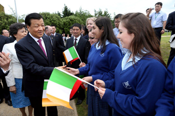 Mr Liu Yunshan pictured meeting school children from Jesus & Mary College Goatstown, Dublin
