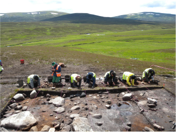 An excavation involving archaeologists from the UCD School of Archaeology at Caochanan Ruadha, Scotland, in July, 2015