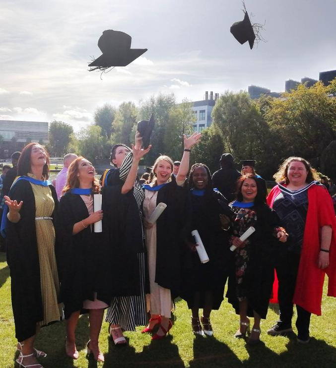 Photo of MSc in Rehabilitation and Disability Studies class of 2019 graduation at UCD lake