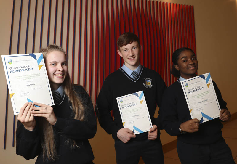 2019 Junior Certificate Awards at UCD, students from Old Bawn Community School
