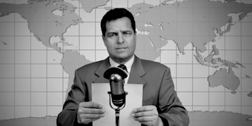 Black and white photograph of a newsreader