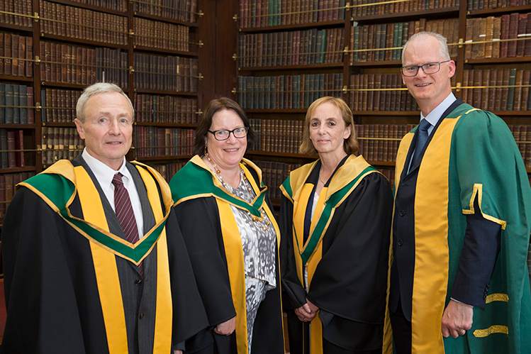 Pictured(l-r): Prof Boris Kholodenko, Professor of Systems Biology; Prof Grace Mulcahy, Professor of Cultural Theory; Gerardine Meaney, Professor of Veterinary Microbiology and Parasitology and Prof Peter Kennedy, President of the Royal Irish Academy