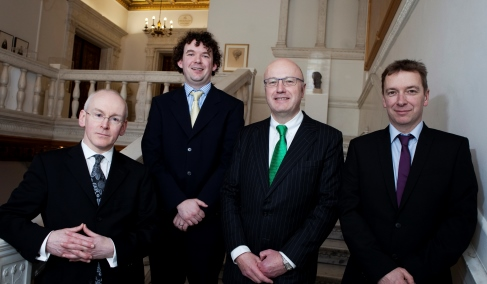 (L-R) Dr John Williams, Wellcome Trust, Dr. Colm J. Ryan, UCD and recipient of the Sir Henry Wellcome Research Fellowship, Prof Mark Ferguson, Director General of Science Foundation Ireland and Chief Scientific Adviser to the Government of Ireland, Dr Roger Blake, Wellcome Trust