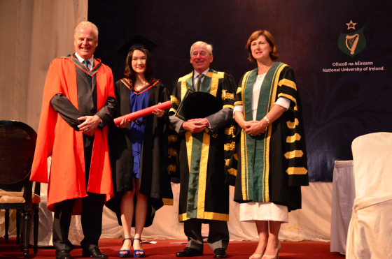 Prof Patrick Murray (Dean of Medicine), Dr Ju Vern Ew (PMC), Dr Maurice Manning (Chancellor, NUI) and Dr Attracta Halpin (Registrar, NUI)