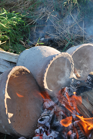 Pots in the fire! Image by Dr. Aidan O' Sullivan.