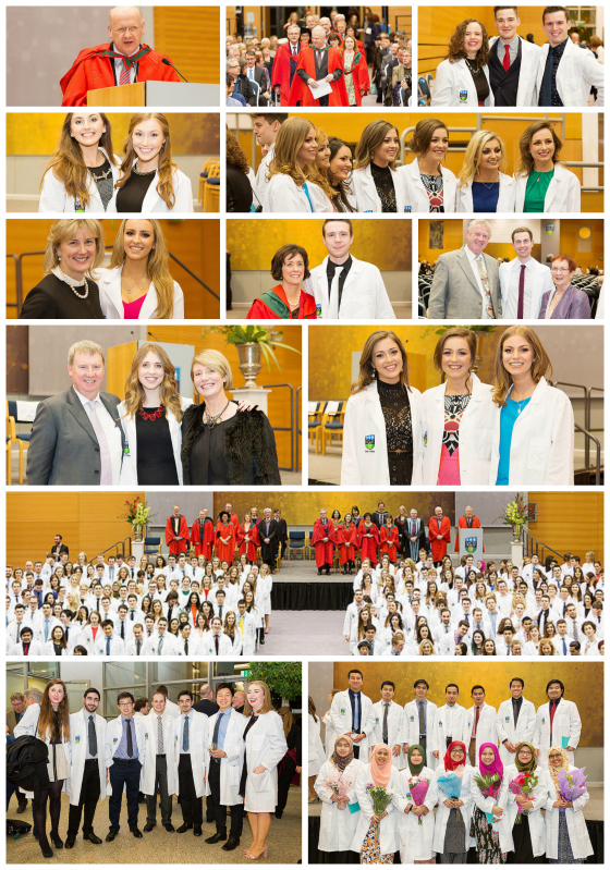 Collage of photographs from 2016 Clinical Commencement White Coat Ceremony
