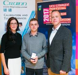 Dr Niamh O'Sullivan, Chair of the 2017 UCD Conway Festival organising committee pictured with PhD student, Stephen Carter and Professor William Gallagher, Director, UCD Conway Institute.