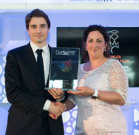 Dr Barry Greene , Chief Technical Officer and co-founder, Kinesis Health Technologies, winner the Best Start-up of the Year Award with Bronagh Riordan, Head of Data Science & Business Intelligence, CarTrawler.