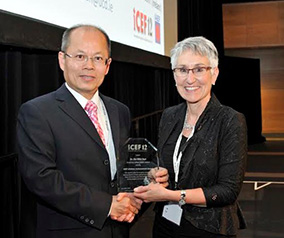 Pictured is UCD's Professor Da-Wen Sun receiving the IAEF Lifetime Achievement Award from Dr Michèle Marcotte, IAEF President.