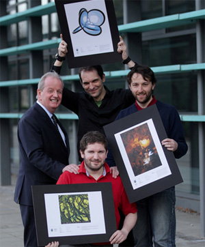 Pictured Prof Des Fitzgerald, VP for Research UCD with winners of the 2011 Research Images Competition, Dr Ian Reid (Overall Winner), Dr Sebastien Peuchmaille (2nd Place) and Dr Miguel Nicolau (3rd Place).