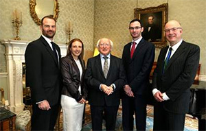 (l-r) Prof Carel le Roux, Prof Valeria Nicolosi, President Michael D. Higgins, Dr Matthew Campbell and Prof Mark Ferguson.