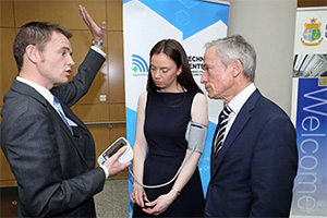 Pictured at the launch of the Applied Research for Connected Health (ARCH) Technology Centre are UCD's Professor Brian Caulfield, Sarah Cosgrove, Research Nurse, ARCH and Richard Bruton TD, Minister for Jobs, Enterprise and Innovation.