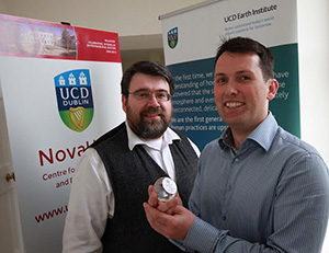 Pictured at NovaUCD are the winners of the 2015 UCD Engineering Innovation Sprint Award Professor John T. Sheridan, Professor of Optical Engineering, UCD Earth Institute and UCD School of Electrical, Electronic and Communications Engineering and Dr James P. Ryle, an independent research consultant, who completed his PhD under the supervision of Professor Sheridan.