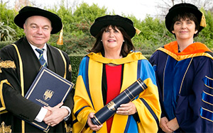 President of University College Dublin, Professor Andrew J Deeks, former EU Commissioner and honorary degree recipient, Máire Geoghegan-Quinn,