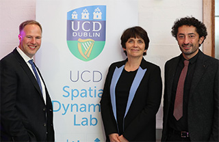 Pictured at University College Dublin are Dr Dieter F. Kogler, co-founder, UCD Spatial Dynamics Lab; Professor Orla Feely, UCD Vice-President for Research, Innovation and Impact and Dr Francesco Pilla, co-founder, UCD Spatial Dynamics Lab.