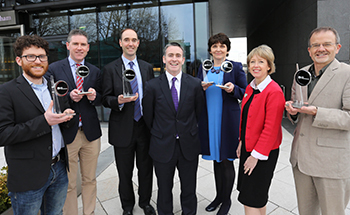 Pictured (l-r) are OxyMem co-founders, Dr Eoin Syron and Prof. Eoin Casey, UCD Chemical and Bioprocess Engineering, Dr Ciaran O'Beirne, Manager, Technology Transfer, NovaUCD, Minister Damien English TD, Prof. Orla Feely, UCD Vice-President for Research, Innovation and Impact, Dr Alison Campbell, Director, KTI and Brendan Cremen, UCD Director of Enterprise and Commercialisation.
