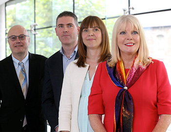 Professor Mark Ferguson, Director General, SFI; Prof Eoin Casey, UCD School of Chemical and Bioprocess Engineering; Dr Rachel McLoughlin, Trinity College; and Mary Mitchell O'Connor TD.