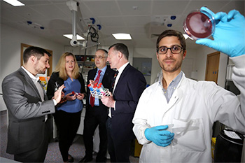 Pictured (l-r) at the UCD Centre for Food Safety are Cian O'Mahony, Chief Science Officer, Creme Global; Dr Eimear Downey, Technical Advisor, Nutrition Supplies; Gearóid Mooney, Director of Research and Innovation, Enterprise Ireland; Professor Séamus Fanning, UCD Professor of Food Safety and UCD PhD student Joao Anes.
