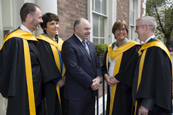 Pictured at the RIA (l-r): Professor Ian O'Donnell,  Professor Orla Feely, Professor Andrew J Deeks; Professor Geraldine Butler and Professor Nicholas Daly.