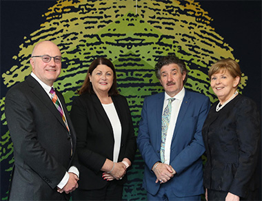 (Pictured l-r) Professor Mark Ferguson, Director General of Science Foundation Ireland and Chief Scientific Adviser to the Government of Ireland, Ms Máire Geoghegan-Quinn, Minister of State for Training, Skills, Innovation, Research and Development, John Halligan TD and Science Foundation Ireland Board Chairman, Ms Ann Riordan.