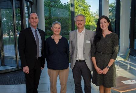 Pictured left-right: Rayne Waller, Vice President of Regional Manufacturing and Site Head at Amgen Dun Laoghaire; Hilary Rimbi, St Andrew's College, Blackrock, Co Dublin; Professor Walter Kolch, Director, Systems Biology Ireland; Dr Niamh O'Sullivan, UCD School of Biomolecular & Biomedical Science and UCD Conway Institute.