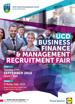 UCD Career Development Centre Business Finance & Management Fair