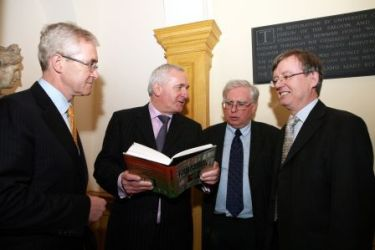 (From l-r): UCD President Dr Hugh Brady; An Taoiseach, Bertie Ahern, TD; Professor John Coakley and Professor Liam O'Dowd at the book launch in Newman House