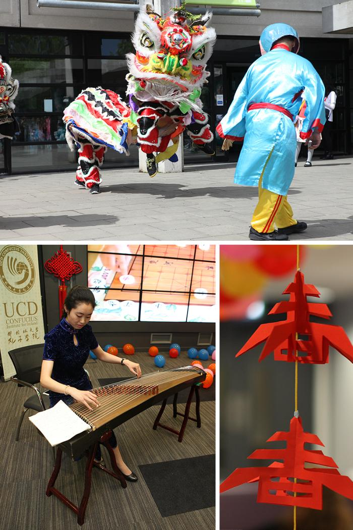 Photos of Chinese Dragon dancers and tea making ceremonies at the UCD Festival.