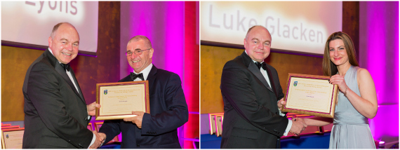 Prof Andrew Deeks presents Technician of the Year award to Mr Peter McLoughlin and Administrator of the Year award to Ms Anna Matusak at the UCD Medicine Gala Dinner, June 2015, UCD O'Reilly Hall, Belfield