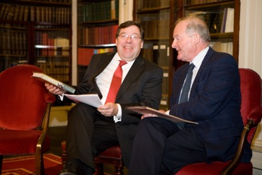 An Taoiseach, Brian Cowen, TD with author Tom Garvin