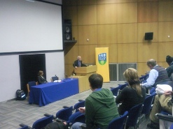 Professor David D Laitin addressing the audience at the Sons of the Soil, Immigrants and Civil War public lecture at the Global Irish Institute
