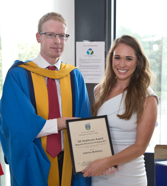 Dr Jonathan McNulty and Ms Cabrina McKenna, GE HEalthcare MRI Award