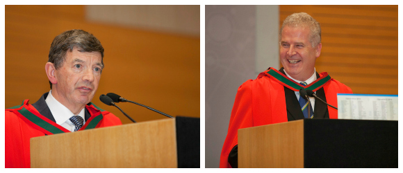 Prof Freddie Wood (President, Medical Council of Ireland) and Prof Pat Murray (Dean of Medicine and Head, UCD School of Medicine & Medical Science) at the UCD Medicine Clinical Commencement 'White Coat' Ceremony 2014.