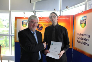 2009 Carthy Award Winner, Ronan Whelan, is congratulated by Prof. Don MacElroy.