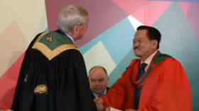 Dr Maurice Manning, Chancellor, National University of Ireland awards Doctor of Medicine honoris causa to Dato Dr Lesley Lam, June 2014