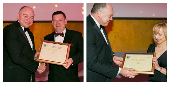 Academic Support Staff Awards - 2014 - Prof Deeks presents awards to Mr Gary Perry and Ms Judy Farrell - 580 x 290