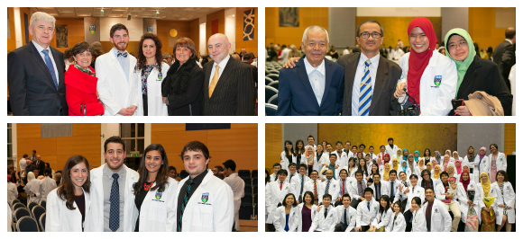Students and their families enjoying the UCD Medicine Clinical Commencement 'White Coat' Ceremony.