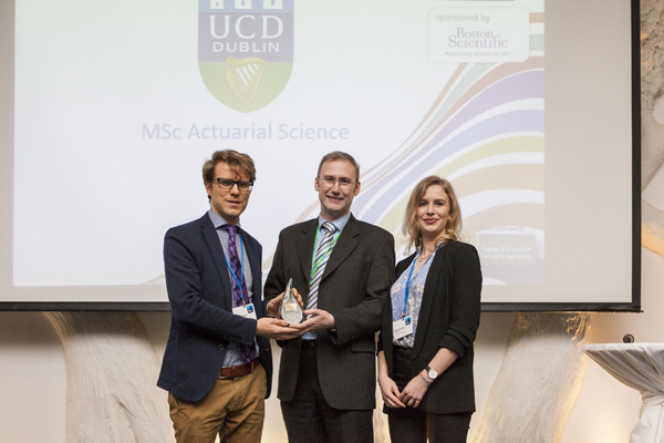 Dr Adrian O'Hagan accepting the Postgraduate Course of the Year in Science category on behalf of the MSc Actuarial Science