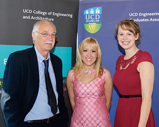 2012 Carthy Award Winners, Ashley Humenik & Justine Forkin congratulated by Dermot Malone.