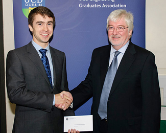 2013 Carthy Award Winner, Donal Finegan, congratulated by Professor Don MacElroy.