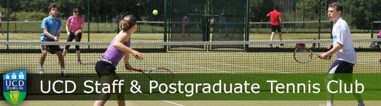 Photograph of staff and researchers playing tennis on the courts next to the UCD Sports Centre.